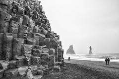Reynisdrangar, South Iceland, Explored. (miketonge) Tags: basalt columns stacks sea beach reynisdrangar reynisfjall vik iceland volcanic black blackandwhite