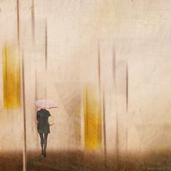The Edge of Autumn (Lemon~art) Tags: woman umbrella rain abstract texture manipulation autumnwinter autumn edgeofautumn