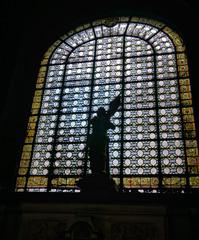 Sainte Jeanne d'Arc (Tiigra) Tags: paris ledefrance france fr 2016 architdetail church interior lattice ornament sculpture statue vitrage window art