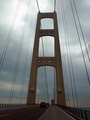 Suspension (lefeber) Tags: road up lights vanishingpoint michigan towers perspective lakemichigan wires upperpeninsula suspensionbridge lakehuron mackinacbridge lampposts