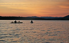 Kayakers On Flagstaff Lake (joyolsonnichols) Tags: sunset lake nature outdoors kayak sundown kayaking recreation watersports nichols kayakers deadriver twp naturesbeauty flagstafflake
