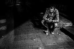 Alone (㋡ Aziz) Tags: life street light portrait people urban blackandwhite bw black eye nature monochrome night turkey dark photography photo women raw day alone photos live crowd deep streetphotography streetlife istanbul human fujifilm fujinon bnw candit 23mm streetphtography xpro1 streetvision