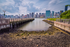 Midtown Manhattan (emrudaphotography) Tags: nyc clouds nik ultrawide longislandcity urbanscape lightroom midtownmanhattan daytimelongexposure bwnd110 bwcpl nikon20mmf18 nikond610 nikon20f18