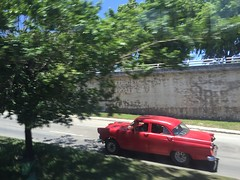 Havana, Cuba (jericl cat) Tags: auto street red tree classic car havana cuba american cuban habana streetscape bienal 2015