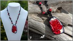 Polymer clay necklace, Kato liquid (mountain.pearls) Tags: red mountain rose pearls liquid masa glina kato kutin polyclay vrtnica nataša nakit ogrlica rdeča hozjan polimerna