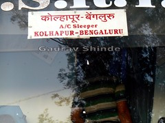 Destination board in Marathi as well as in English (gouravshinde94) Tags: bus volvo bangalore sleeper kolhapur shivneri b7r msrtc