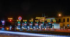 fast (pbo31) Tags: sanfrancisco california plaza bridge motion color fall clock sign night dark nikon october neon slow traffic 101 goldengatebridge toll presidio goldengatenationalrecreationarea 2015 lightstream boury pbo31 d810