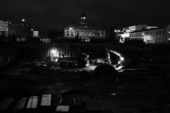 construction site (Mika Lehtinen) Tags: city building finland dark site construction hole digging centre machine center machinery trucks marketplace build dig pietarsaari jakobstad jeppis