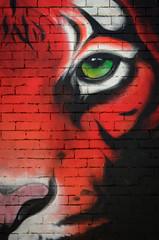 Tiger, Tiger, in the night (dave.fergy) Tags: red urban abstract eye art face animals wall architecture graffiti events tiger au bricks australia victoria preston nik mammals bodypart buildingmaterial adobeps on1pics