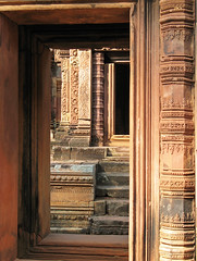 An Ancient Doorway (Ellsasha) Tags: door architecture canon temple cambodia angkorwat doorway shiva hindu banteaysrei redsandstone canonpowershota620 khmerart