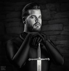 Legens of the Sword - Knight of the Dark Order (Benni 06) (WF portraits) Tags: man male portrait black white blackandwhite sword knight order beard bear aut hairy piercing ear nose septum