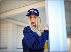 Portland US (Steve Lundqvist) Tags: hat cap baseball bomber jacket quilt people girl portrait blue nikon nikkor 50mm f14 italy italian italia cappello pov bokeh portland oregon us usa dreaming dream american grain