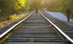 (amy20079) Tags: nikond5100 maine fall autumn railroad tracks railroadtracks boy running goldenhour