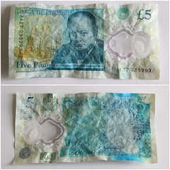 New fiver scrunch test (Graham  Sodhachin) Tags: fivepoundnote newfivepoundnote fiver ink
