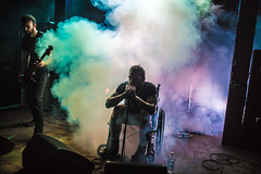 Trap Them (morten f) Tags: trap them singer publikum wheel chair wheelchair rullestol broken feet legs brekt fot ftter vokalist vocalist bandage tour 2016 europe live concert konsert bl blaa oslo norge norway band smoke