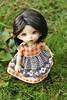 Autumn Afternoon (AluminumDryad) Tags: fairyland pukifee pkf ante tinybjd bjd balljointeddoll doll outdoors stripes checks vintagefabric grass lawn green orange brown