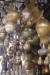 Lighting Stall, Marrakech (alison's daily photo) Tags: marrakech souk shop metal lighting lampshades