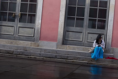 Blue and pink (Memories of the Far East) Tags: portugal braga blue dress girl sitting stairs angels