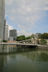 Cavenagh Bridge & Various Scenes Out and About in Singapore (May 2016) (cseeman) Tags: singapore city buildings skyscrapers urban downtown water buses doubledeckerbuses cars streets commerce singapore2016 cavenaghbridge bridge suspensionbridge singaporeriver river