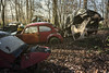 Warming up nicely (Kriegaffe 9) Tags: vw volkswagen bug rust sunlight trees explored explore