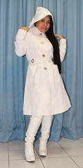 Hooded Trench (johnerly03) Tags: erly philippines filipina filipino asian fashion raincoat rainwear mac trench coat knee length white high heel pvc boots hood