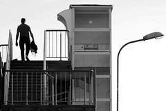 Elevator 4 (mkorolkov) Tags: street streetphotography stairs elevator bridge silhouette top blackandwhite monochrome fujifilm xe1 xc50230