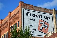 South Dakota, Watertown, 7-Up (EC Leatherberry) Tags: southdakota watertownsouthdakota codingtoncounty wall advertisement soda softdrink 7up