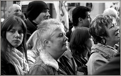Faces in a crowd (* RICHARD M (Over 6 million views)) Tags: street liverpool demo mono blackwhite candid expressions citylife demonstration protesting scousers protests crowds protesters demonstrators groups merseyside demonstrating dalestreet wethepeople capitalofculture voxpop voxpopuli europeancapitalofculture liverpudlians liverpooltownhall voiceofthepeople rebelswithacause maritimemercantilecity standinguptobecounted