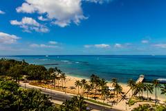 Waikiki Beach, Oahu - 25 (www.bazpics.com) Tags: ocean sunset sea usa beach silhouette america plane island hawaii us airport surf waves unitedstates pacific waikiki oahu horizon surfing hawaiian boardwalk surfers hi honolulu takeoff hln hololulu