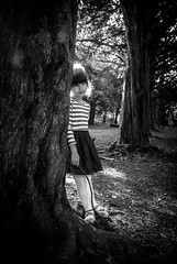 Carla (liz stowe) Tags: girl monochrome childhood forest blackwhite moody child backlit atmospheric