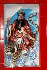 Wealth diety Tsai Shen Yeh, on gate of Tua Pek Kong Temple, Kuching, Sarawak (davidvictor513) Tags: art ceramic god tiger decoration sarawak malaysia borneo kuching taoism wealth walldecoration kuchingcity chinesediety wealthdiety