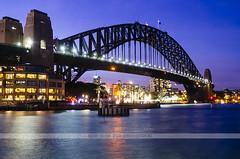 Sydney Harbour Bridge at night (Naomi Rahim (thanks for 2 million hits)) Tags: longexposure travel bridge sunset water architecture night lights nikon sydney australia sydneyharbour sydneyharbourbridge travelphotography nikond7000
