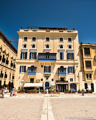Castille Hotel - La Valletta, Malta. (Andrea Daidone) Tags: world road new old city trip november blue friends summer sky people urban panorama sun hot streets travelling history love vertical architecture season walking island design mar town photo big high amazing nikon europe mediterranean mediterraneo day colours view place shot cloudy terrace patterns exploring horizon country citylife culture center malta palace panoramic explore journey thinking classics around concept tradition important observing islandlife lavalletta