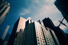 Always looking up... (Jim Davies) Tags: photography analogue film veebotique 35mm vivitar ultrawideandslim uws plastic toycamera kodak ektachrome 160t 160asa slidefilm crossprocessed xpro e6 c41 expired hardexpired newyorkcity nyc newyork manhattan bigapple