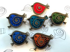 Working with the birds, trying to make them a bit smaller. (woolly  fabulous) Tags: embroidered zipper brooch bird