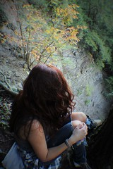 A ledge is but a breaking point, (wesleymoon) Tags: nature fall leaves leaf andy girls girl orange warmth warmcolors colors cliff natures ombre rocks rock cliffjump shirt ginger gingergirl
