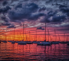 Hulls & Hues (Carl's Captures) Tags: sunrise skyscape clouds cloudscape sailboats dusableharbor chicagoillinois cityofchicago cookcounty thewindycity downtownchicago chitown lakemichigan thegreatlakes summer july morninglight nautical orange red blue purple pink dawn newday landscape moorings mirrors reflections masts silhouettes colorful jazzy nikond5100 tamron18270 lightroom5 nature outdoors palette lakeshore marine maritime cabadil
