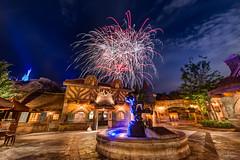 Fireworks Friday over Gastons Tavern (WhoIsCliffWang) Tags: wishes gastonstavern magickingdom newfantasyland waltdisneyworld wdw nikond800 disney disneyworld