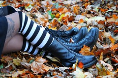 IMG_2681 (anthrax013) Tags: shoes stockings stripy drmartens autumn yellow leaves