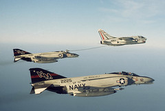 A-7B of VA-155 refuels F-4N's of VF-51 (JimLeslie33) Tags: a7 a7b va155 nm507 uss franklin d roosevelt fdr cv42 nas lemoore miramar vf51 refuel refueling f4 f4n 152225 154449 bicentennial 152310 nm nm112 nm110 f4b phantom corsair naval aviation usn navy