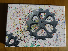 Cog Painting (ShaneLeviSpeed) Tags: cog cogs colour black grey white red blue green yellow orange purple splatter abstract canvas painting paint acrylic