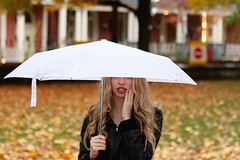 Fall Showers (ParkerTownes) Tags: rain umbrella fall leaves canon girl portrait