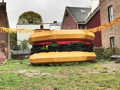 Art of Hamburger on Chestnut Street (daveynin) Tags: art scul sculpture hamburger rubber steel patty tomato bun