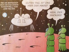 Bruchlandung (micky the pixel) Tags: karrikatur comic satire mars sonde esa schiaparelli marsmensch alien zeitung newspaper saarbrückerzeitung erl cartoon martians marsianer
