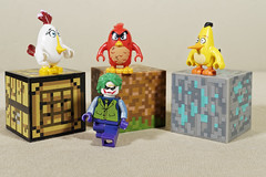 The Angry Birds are closing in on the Joker (Busted.Knuckles) Tags: home toys lego minifigures angrybird joker minecraft olympusomdm10mkii dxoopticspro11 linco