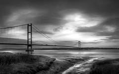Humber Bridge At Low Tide From The South Bank- (Allan A Albery) Tags: blue sonya7ii sonyzeiss2470mmfe humberbridge north bank seacape blackwhite lightroom dramatic skyline light lincolnshire