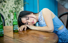 Drunk (ngducchanh) Tags: vietnamesegirl say beer bluedress