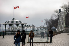Windy Boardwalk (caribb) Tags: canada quebec quebeccity canadianhistory buildings urban city 2016 downtown centreville street streets centrum boardwalk flags gazebos people windy outdoor