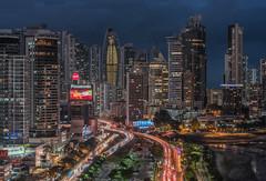 Panama City (urbanexpl0rer) Tags: panama panamacity skyline skyscrapers architecture city cityscape urbanlandscape highway highangleview longexposure bluehour fullframe