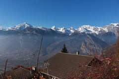 Isérables (bulbocode909) Tags: valais suisse isérables villages maisons chalets toits montagnes nature paysages brume bleu automne arbres
